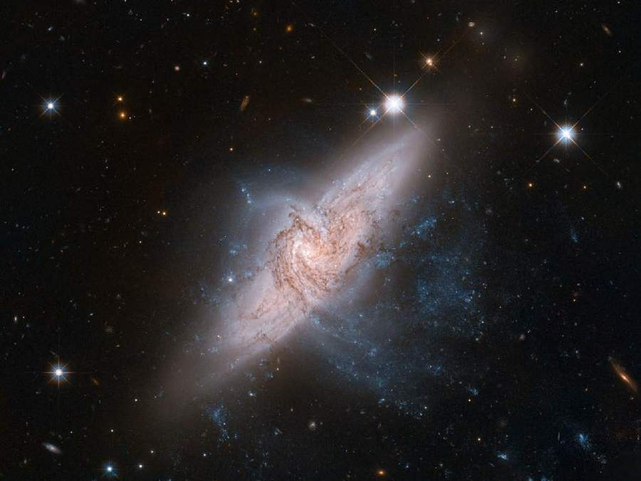 Two galaxies called NGC 3314 by Hubble Space Telescope