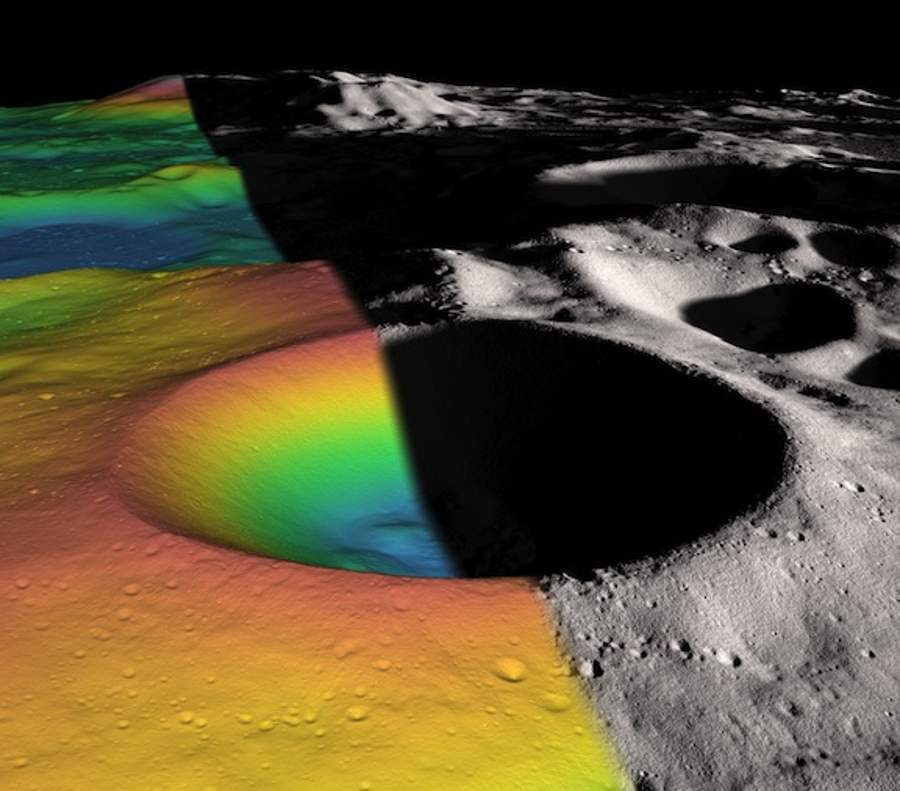 Shackleton Crater at Moons South Pole plenty of Ice