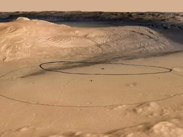 The target landing area for Curiosity