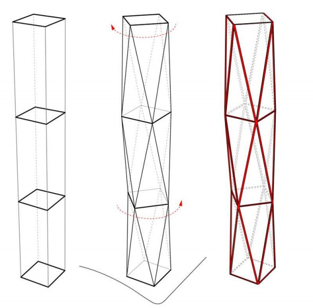 Diagonal Tower by SOM (2)
