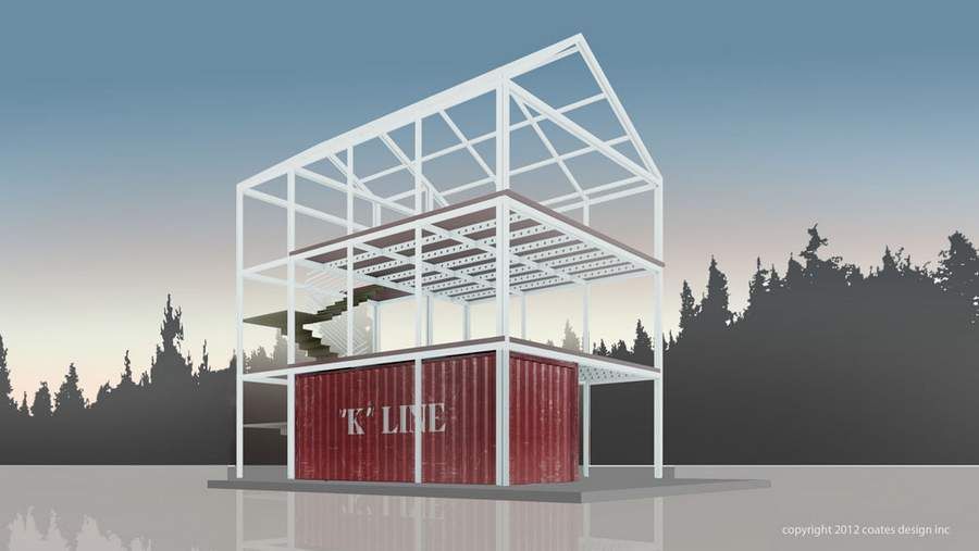Eco pak a new take on container homes wordlesstech for Structure conteneur