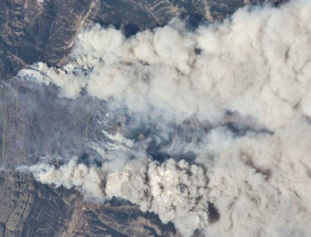 Fires in Wyoming Range from ISS