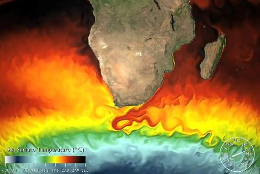 the surface temperature of the sea