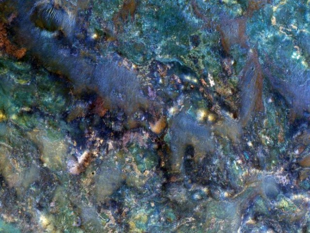 Rocks from a region of Mars near Nili Fossae