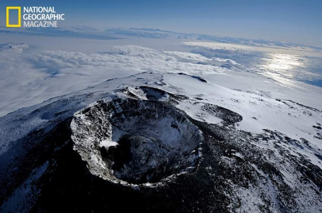 Mount Erebus main crater of the volcano is quiet, exuding just a few puffs of steam