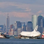 Space Shuttle Enterprise is sailing around New York (vi...