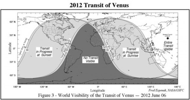 Venus Τransit of the Sun- June 5- Location visibility