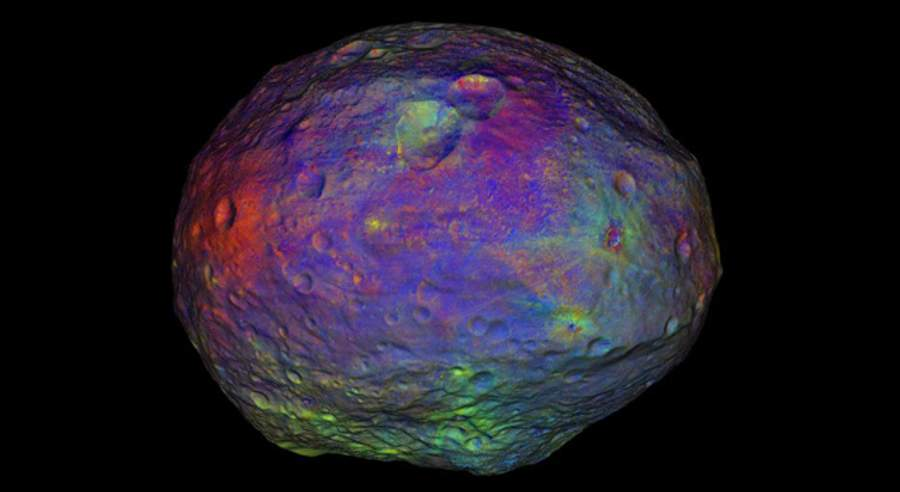 Asteroid Vesta Technicolor surface