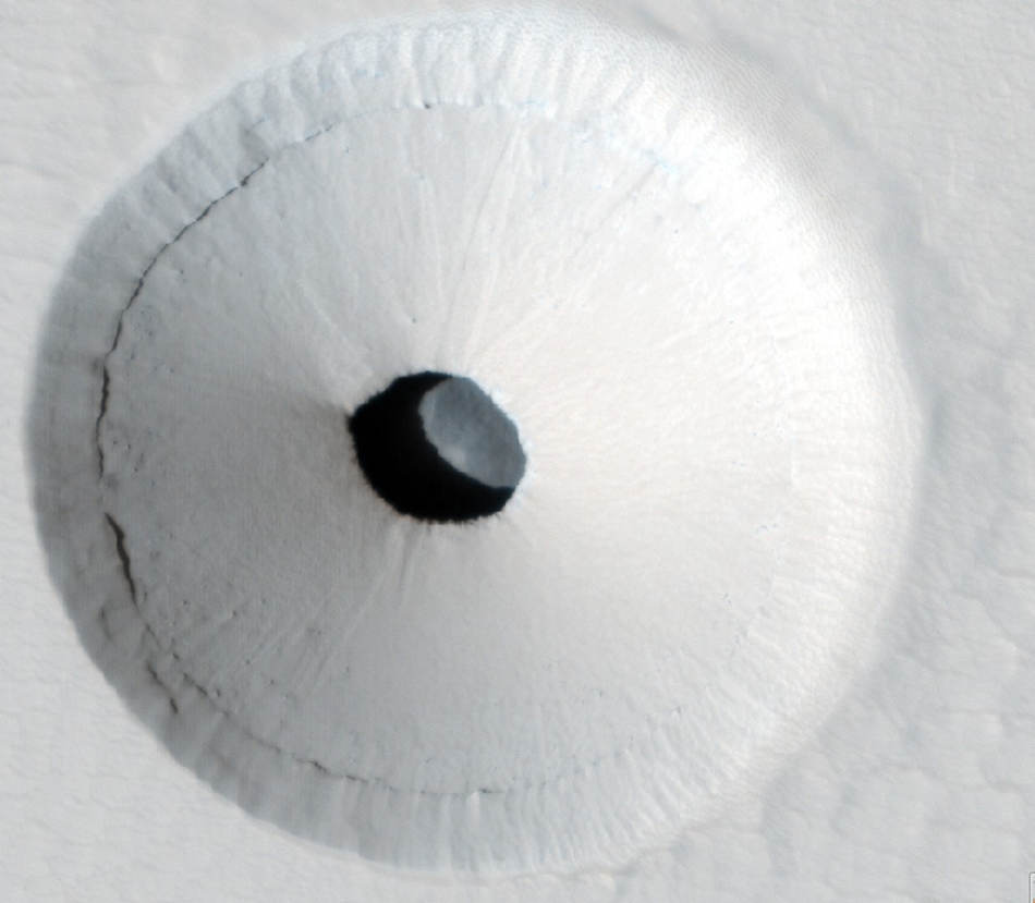 A Hole in Mars Pavonis Mons volcano