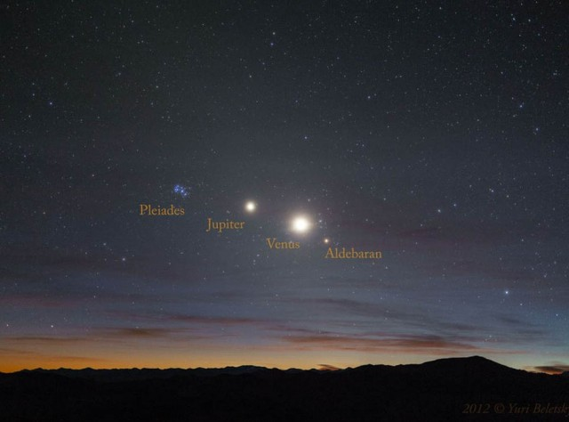 Pleiades open star cluster, Jupiter, Venus, and Aldebaran