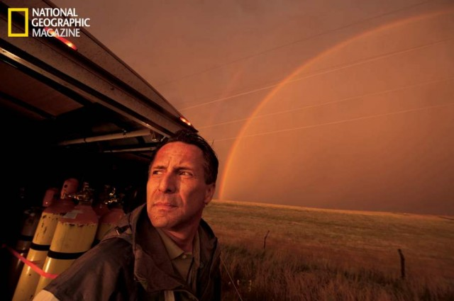 A rainbow signals the end of a thunderstorm