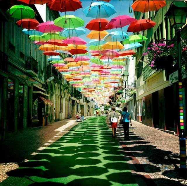 Colorful umbrellas in the air