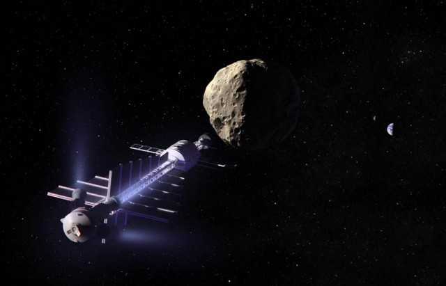 20 ton nuclear-electric spacecraft tows a 200 meter diameter asteroid