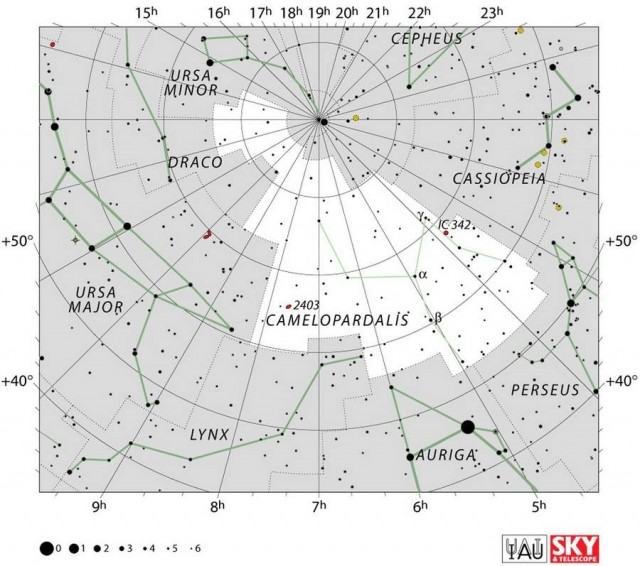 Constellation of Camelopardalis star map