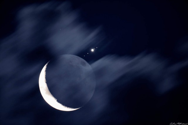 Moon Meets Jupiter and Galilean moons