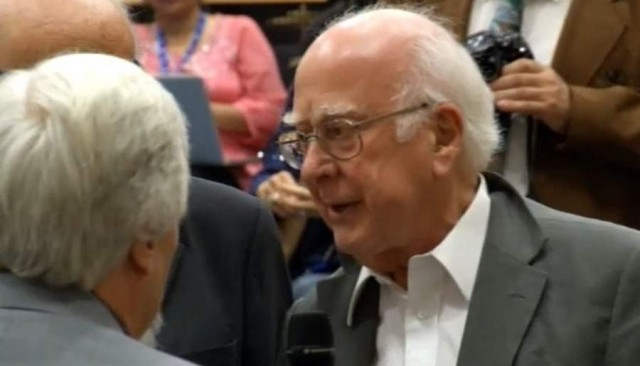 Professor Peter Higgs at July 4, announcement