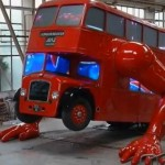 Olympic double-decker bus do push ups