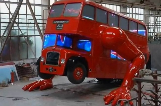 London Booster double-decker bus do push ups