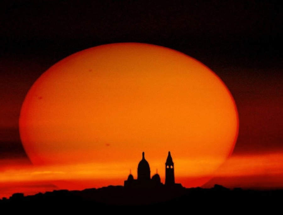 Sunspots and Basilica of the Sacred Heart, Paris