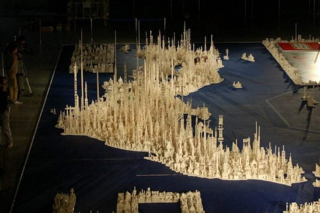 A map of Japan made by 1.8 million LEGOs