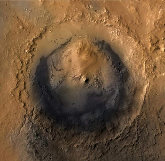 Gale Crater, Mount Sharp and landing spot of Curiosity