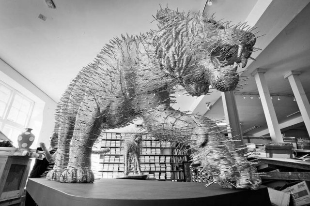 Tiger 2012 by David Mach, made from coat hangers