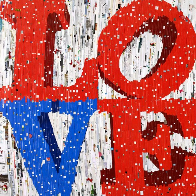 Love 2012 by David Mach, made from xmas cards