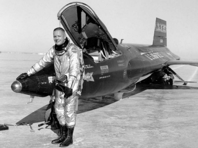 Neil Armstrong with the North American X-15 rocket powered airplane