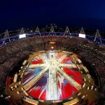 London Olympic closing ceremony Flag by Damien Hirst