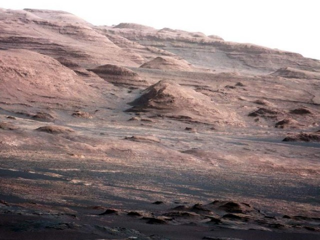 The base of Mount Sharp, the Curiosity rover's eventual destination on Mars