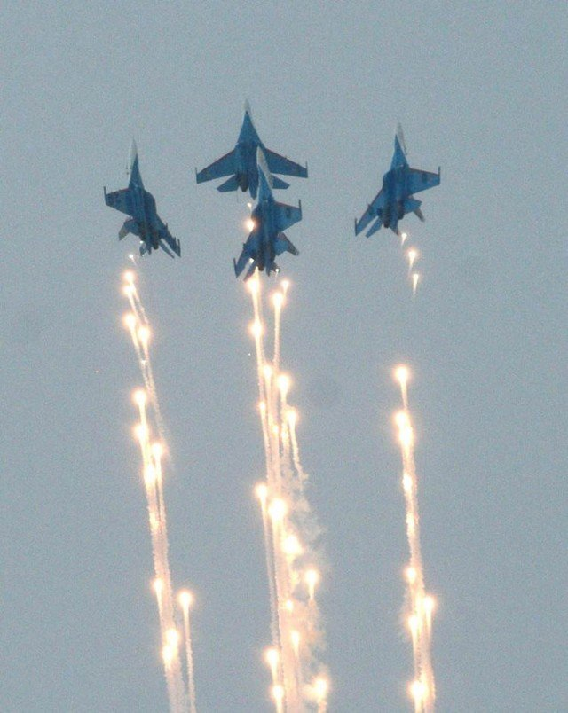 Russian Knights in a perfect formation