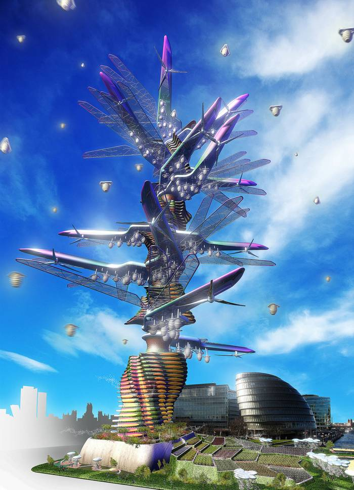 Vertical + Horizontal Farm Tower Farming and Crop Distribution Tower by Kevin Chu