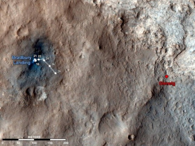 Curiosity Rovers Tracks from Space