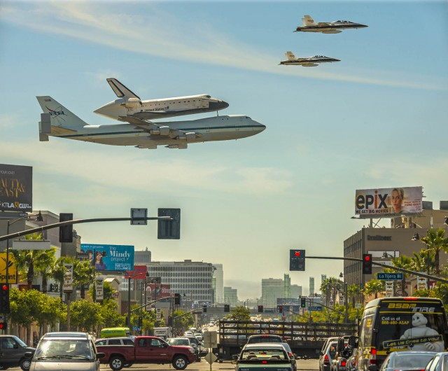 Endeavour over Los Angeles