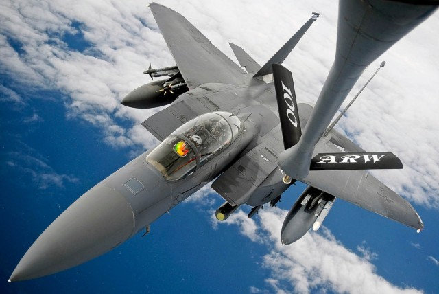 F-15E Strike Eagle air refueling