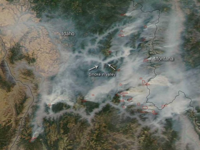 Forest Fires in Idaho from space