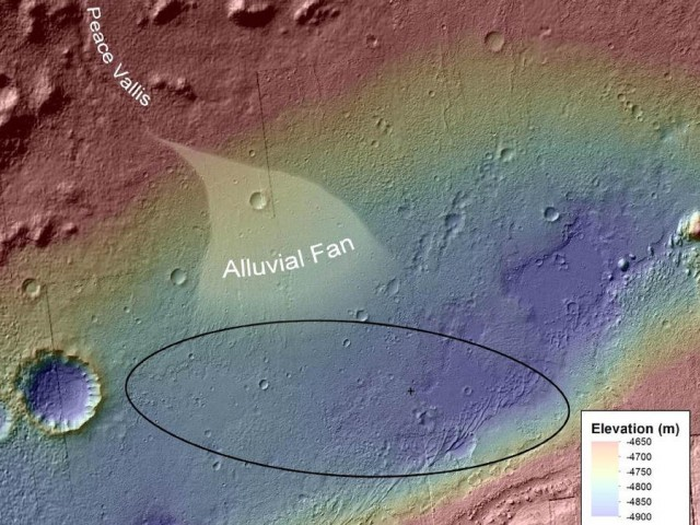 the topography where Curiosity rover landed on Aug. 5
