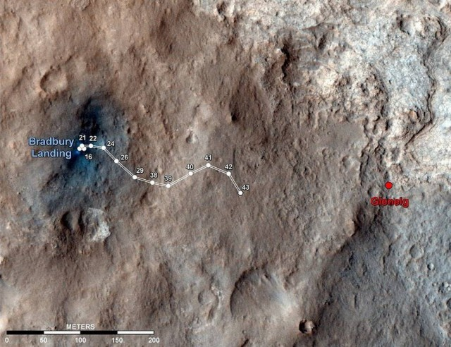 The route driven by Curiosity since it landed on Mars