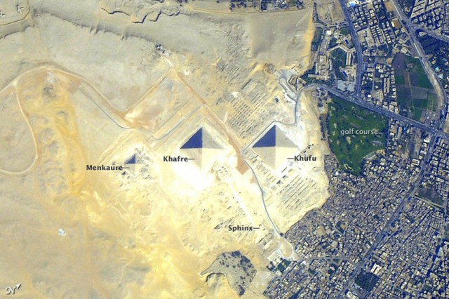 Pyramids at Giza from orbit