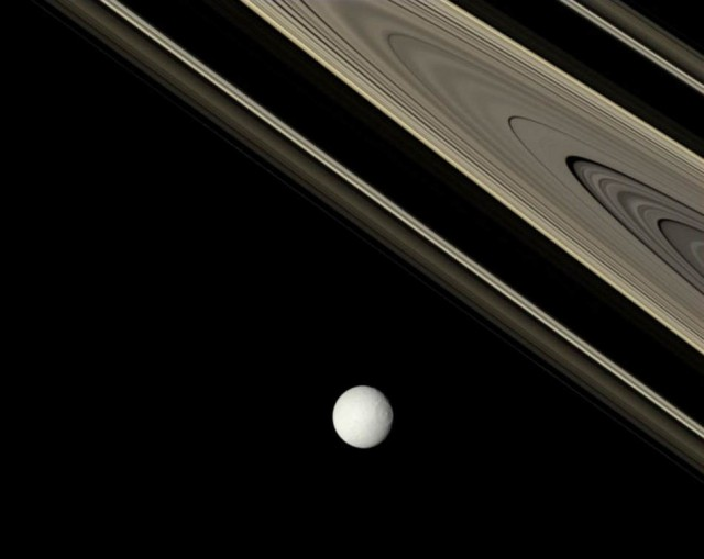 Saturn rings and Tethys