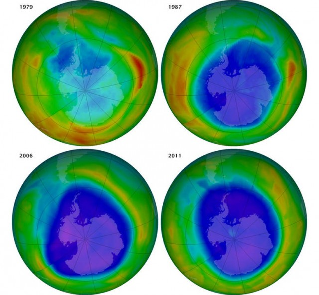 The Ozone Hole before and after the Montreal Protocol