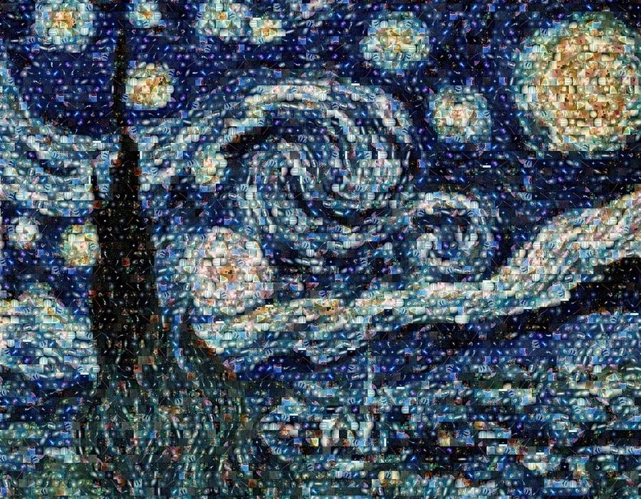Van Gogh's Starry Night made by Hubble's pictures