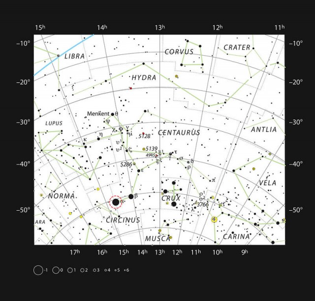 Alpha Centauri is one of the brightest stars in the southern sky, sky chart