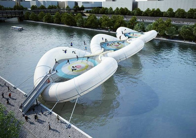 Giant Inflatable Trampoline Bridge by AZC