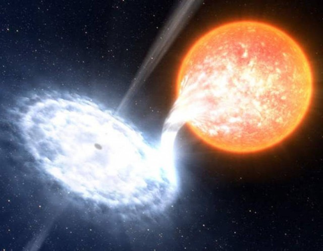 XTE J1550-564 is a binary system in which an evolved star orbits a black hole