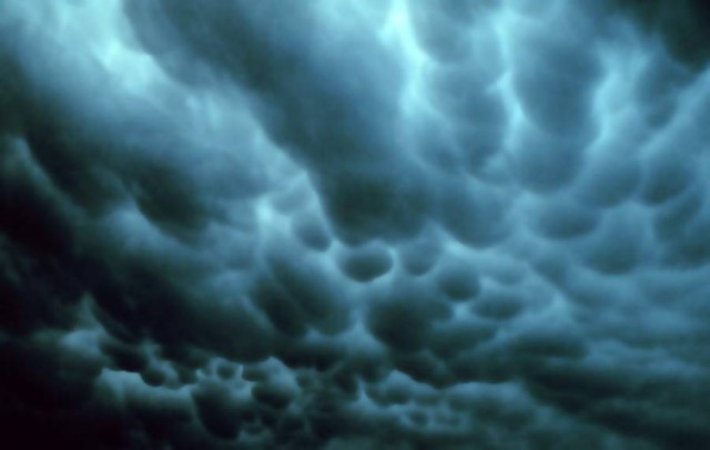 Mammatus clouds in Tulsa, Oklahoma, 1973