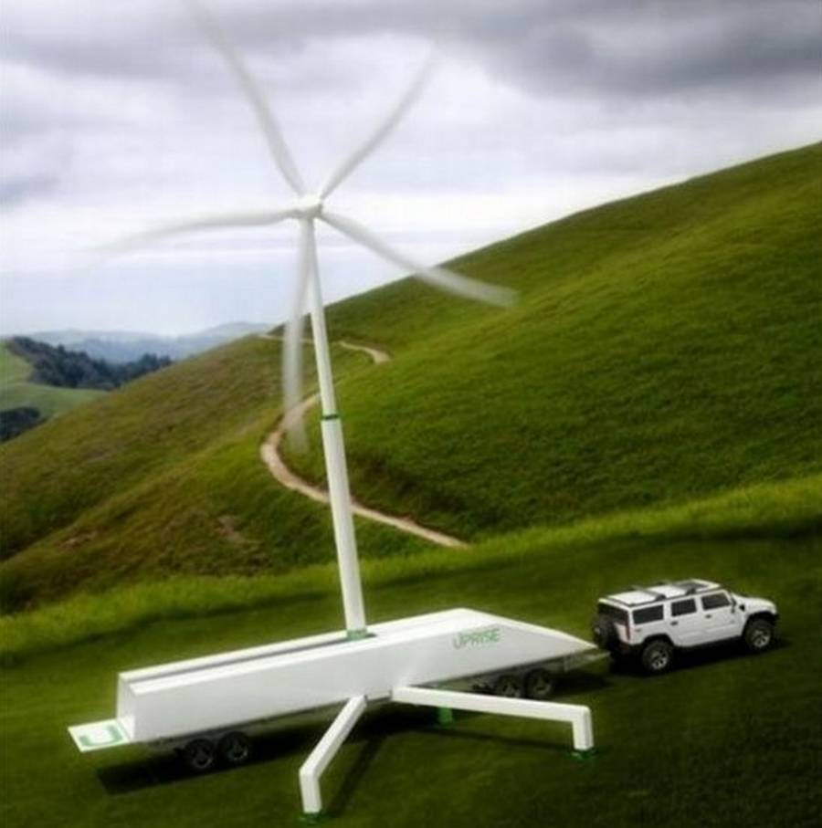 Portable 50kW wind turbine by Uprise Energy