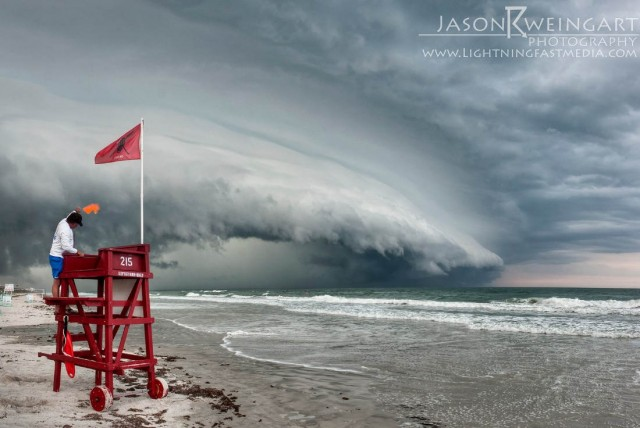 Shelf cloud approaching Ormond Beach
