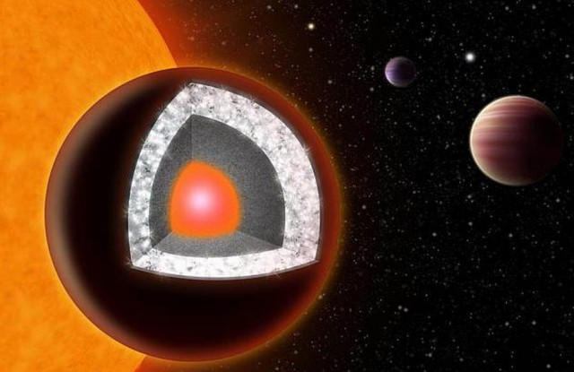 Super-Earth likely a diamond planet 55 Cancri e