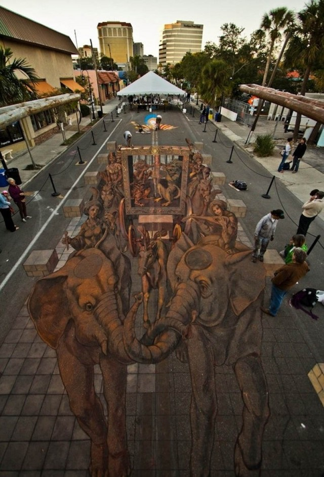 3D Chalk Art in Sarasota by Kurt Wenner
